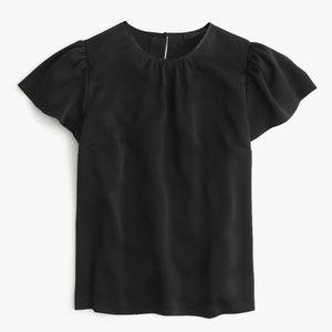 J. Crew Drapey Crepe Cap-sleeve Top in Black